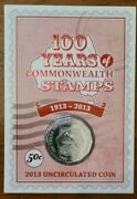 Australian Fifty 50c Cent Coin 2013 - 100 Years Of Commonwealth Stamps Unc Rare