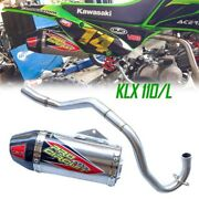 Exhaust Headers Muffler Klx110 / Klx110l Stainless Steel System Side Pipe Parts