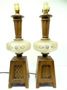 Vintage Pair Used Wood Wooden Frosted Glass Globe Decorative Table Lamps Lights