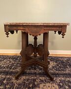 Antique Ornate Victorian Eastlake Marble Top Occasional Table Fancy Carved Base