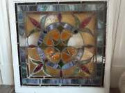 Antique Colored Stained Stain Glass Window Panel In Wood Frame 30x 30