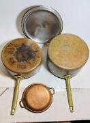 Vtg Paul Revere Limited Edition Cookware Copper Stainless Brass Handle 3pc