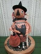 Primitive Halloween 18 Inch Pumpkin Witch Doll With Cat Handmade