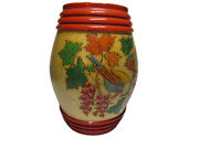 Decorative Wooden Carved Painted Barrell Shaped Birds Maple Leaves Berries