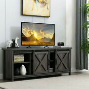 Tv Stand Sliding Barn Door Wood Console Table With Storage Cabinets Up To 65 Tv