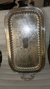 Vintage Leonard Silverplate Rectangular Footed Serving Tray W/handles 24