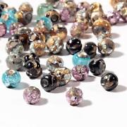 Lot 65 Vintage Czech Mixed Micro Lampwork Foil Under Overlay Round Glass Beads