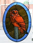 Stained Glass Hand Painted Kiln Fired Short-eared Owl Panel 0131