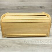 Bamboo Bread Box Wooden Storage Basket Holder Vintage Large Capacity Roll Top