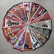 """Vintage 90's Lot Of 17 Chicago Sports Pennants Bulls-cubs - White Sox -bears 30"""""""