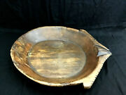 Antique 19th Century Early Handcarved Wooden Dough Bowl W/handleandprimitive Looks