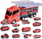 12 In 1 Die-cast Fire Trucks In Carrier Fire Engine Cars Toys Gift For Kids +3
