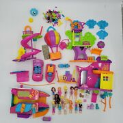 Mattel Polly Pocket Toy Dolls Clothing Playsets And Accessories Lot Boat Salon Euc