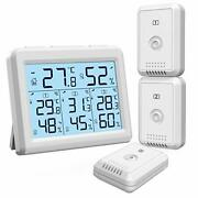 Indoor Outdoor Thermometer With 3 Wireless Sensors, Digital Hygrometer White