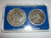 India-2 Coin Development Oriented Set-1980-rural Womenand039s Advncand039ment- Rs.100and10