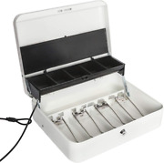 Large Locking Cash Box Money Tray With Security Cable Metal Money Key Lock White