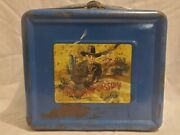 Vintage 1950s Hopalong Cassidy Blue Metal Lunch Box With Thermo And Tag