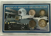 America's Obsolete Coin Collection, Total Of 4 Coins, Display Case
