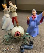 7 Pcs, Cinderella And Charming, Fairy Godmother, 3 Mice, Carriage And Title