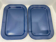 Vintage Texas Ware 142 Navy Blue Rectangle Serving Tray Platter 15 5/8 X 10 1/2