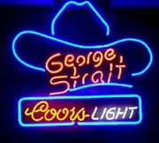 New Coors Light George Strait Hat Neon Light Sign 24x20 Beer Cave Gift Lamp