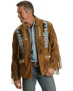 Liberty Wear Men's Eagle Bead Fringed Suede Leather Jacket Big And Tall -