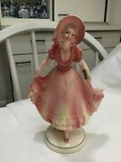 Antique- Katzhutte Hertwig German Figurine Lady Various Shades Of Pink W Yellow