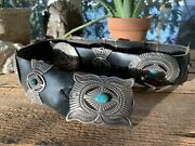 Old Pawn Vintage Large 60s Turquoise Navajo Rrb Native Sterling Concho Belt 508g