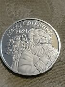 2021 Merry Christmas Santa With Bag Of Toys Holiday 1 Oz Silver Round Coin