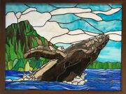 34.5 W X 26 H Stained Glass Panel Breeching Humpback Whale At Diamond Head