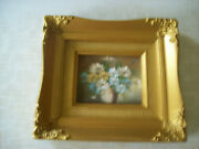 Vintage Gold Baroque Ornate Gesso Framed Painting Of Flowers 9.5x8.5 Very Gd