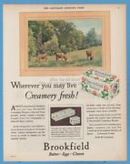 1928 Swift's Brookfield Butter Farm Dairy Products Cows 1920's Kitchen Decor Ad