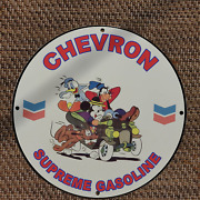 Vintage Chevron Supreme Gasoline And039mickey Goofy Donaldand039 Porcelain Gas And Oil Sign