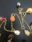 New Joan Rivers Imperial Faberge 16 Charm Egg Enamel Necklace Queen Of Romania