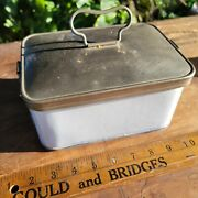 Vintage Enamel Metal Lunch Bread Cookie Travel Box Early Automobile