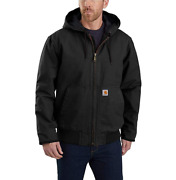 Menand039s Hood Jacket 5xl Black J130 Quilt Lined Washed Duck Canvas New Nwt