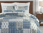 Rare Nwt Pottery Barn Blue Mackenna Patchwork King Quilt And 2 K Shams