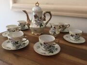 Tea Set With Pot Cups And Saucers And Creamer Flower Theme Made In Japan