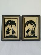 Vintage 1920s-30s Art Deco Silhouette Reverse Painting Pictures Framed Art