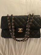 New Authentic Black Quilted Caviar Medium Classic Double Flap Bag