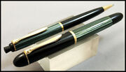 Early Vintage Pelikan 140 Fountain Pen And 350 Pencil Green Striated In Box