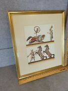 Vintage Antique Horses Clown Show Circus Child Late 19th Century Foxing