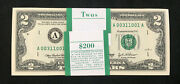 Lucky 2 Dollar 2003 A Fancy Serial Boston Pack Of 100 Federal Reserve Notes Gem