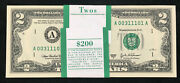 Nice 2 Dollar 2003 A Fancy Serial Boston Pack Of 100 Federal Reserve Notes Gem