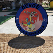 Vintage 1959 Devoe Paints And Varnishes ''baby Huey'' Porcelain Gas And Oil Sign