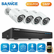 Sannce 5mp Poe Security Camera System 8ch Nvr Audio Recording Ip Network Outdoor