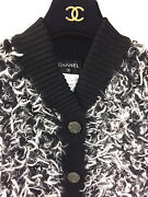 Black And White Furry Knit Cashmere-blend Cardigan Jacket Size40/m