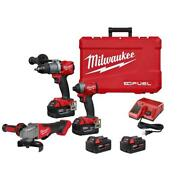 Milwaukee M18 Fuel Hammer Drill Impact Driver Grinder Brushless Cordless 3-tool