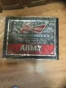 Budweiser Proud To Serve Those Who Serve Army Mirrored Wall Art 20.5x26.5