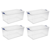 Set Of 4 Large Storage Containers 105 Quart Clear Plastic Totes Latching Lids